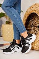 meyra'nın ayakkabıları Kadın Siyah Beyaz Sneaker