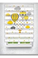 Avart Digital Uçan Balon Baskılı Perde - Çocuk Odası Perdesi - Hot Air Balloon - Baskılı Zebra Perde