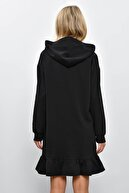 Cool & Sexy Kadın Siyah Volanlı Kapüşonlu Sweat Elbise B40