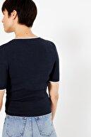 Marks & Spencer Kadın Lacivert Kısa Kollu Triko Bluz T38002371