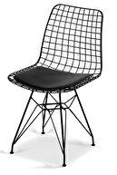 STONE CONCEPT MOBİLYA Concept Tel Sandalye Siyah Bahçe Ev Yaşam Kafe Sandalyesi 4 Adet