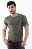 Arlin Erkek Sıfır Yaka Likralı Slim Fit Haki T-shirt