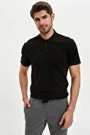 Defacto Erkek Siyah Slim Fit Basic Polo T-Shirt