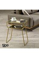 tino furniture Gold Yan Sehpa Cam Raflı Metal Geyik Sehpa