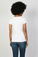 Colin's KADIN Slim Fit Bisiklet Yaka Örme Kadın Beyaz Kısa Kol Tişört CL1047830