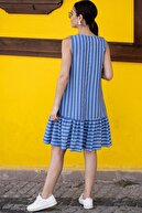 armonika Kadın Saks Kolsuz Eteği Fırfırlı Çizgili Elbise ARM-19Y001101