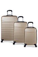 Troya Bags Gold Unisex 3'lü Set  Kabin Orta ve Büyük Boy Valiz TR1271