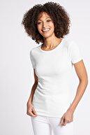 Marks & Spencer Kadın Beyaz Saf Pamuklu Yuvarlak Yaka Kısa Kollu T-Shirt T41001369