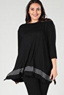 Moda Cazibe Kadın Siyah Etek Ara Simli Tunik M9259