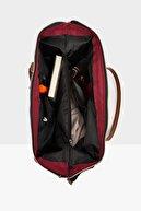 Bagmori Bordo Kadın Çizgi Baskılı Metal Aksesuarlı Çanta M000003608