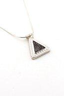Solfera Kadın Dua Yazili Siyah Piramit 925 Ayar Gümüş Kolye Q0186