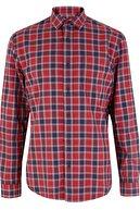 Marks & Spencer Erkek Kırmızı Saf Pamuklu Ekose Gömlek T25001025M