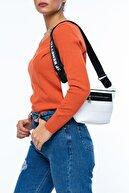 Benetton Beyaz - Siyah Kadın Bel Çantası BNT134