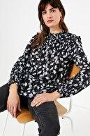 Marks & Spencer Kadın Siyah Desenli Uzun Kollu Bluz