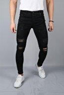 Kaftan Giyim Erkek Siyah Yırtık Kot Pantolon