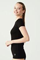 US Polo Assn Kadın Siyah T-shirt Kısa Kollu O Yaka USB66002