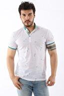 Arlin Erkek Polo Yaka Yaprak Desenli Düğmeli Slim Fit Mint T-shirt