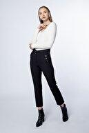 MD trend Kadın Siyah Cep Düğme Detaylı Kumaş Pantolon Mdt2814