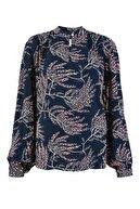 Marks & Spencer Kadın Lacivert Desenli Popever Bluz T53002130U
