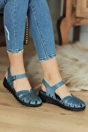 Pembe Potin Mavi Kadın Sandalet A0204-20