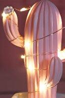 Buffer Led Işıklı Sevimli Kaktüs Dekoratif Masa Lambası Mini Biblo Gece Lambası-Pembe