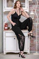 Chiccy Kadın Siyah Bohem Dantel Detaylı Şalvar Pantolon M10060000PN99181