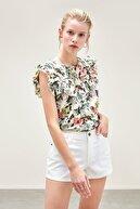Mudo Kadın Multi Renk Çiçek Desenli Bisiklet Yaka Casual Bluz
