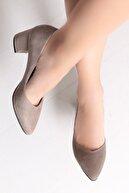 Deripabuc Hakiki Deri Vizon Süet Kadın Topuklu Deri Ayakkabı Shn-1930