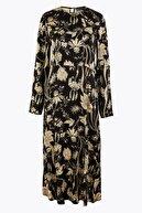 Marks & Spencer Kadın Siyah Saten Waisted Midi Elbise T42007564