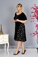 Mezura Kadın Siyah Beyaz Papatya Yazlık Büyük Beden Kısa Kol Dizaltı Cepli Viskon Penye Elbise