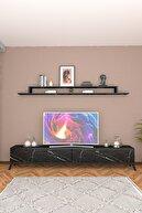 Wood House Lodos Siyah Mermer Tv Ünitesi
