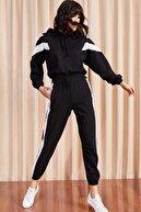 Olalook Kadın Siyah Renk Bloklu Eşofman Takımı TKM-19000040