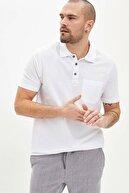 Defacto Oversize Fit Polo Yaka Basic Kısa Kollu Beyaz Tişört
