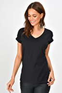 Cool & Sexy Kadın Siyah Sırtı Kanatlı Pullu T-Shirt PKA1486