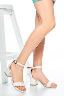 Moda Değirmeni Beyaz Cilt Kadın Klasik Topuklu Ayakkabı Md1015-119-0001
