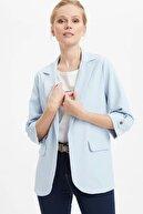 Defacto Kadın Mavi Regular Fit Basic Blazer Ceket N1286AZ.20SP.BE343