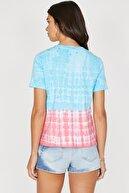 Koton Kadın Mavi Bisiklet Yaka Kısa Kollu Cep Detaylı T-Shirt