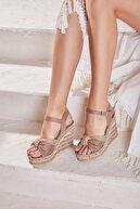 Bambi Vizon Süet Kadın Dolgu Topuklu Ayakkabı H0578080872