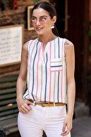 armonika Kadın Gri Renkli Çizgili Cepli Kolsuz Bluz ARM-19Y001062