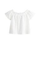 Mango Beyaz Kız Çocuk Omuzları Açık Koton Bluz 53030748
