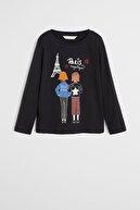Mango Siyah Kız Çocuk Pullu Ve Baskılı T-Shirt 57075932