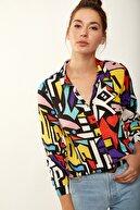 Happiness İst. Kadın Mix Grafik Desenli Viskon Gömlek 3721 DD00138