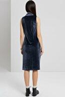 Yargıcı Kadın Gri Mavi Yaka Detaylı Elbise 9KKEL7140X