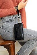 WMİLANO Siyah Kroko Kadın Bel Çantası C217-19