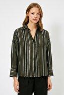 Koton Kadın Yeşil Çizgili Bluz 0YAK68166PW
