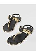 İlvi Kadın Altın Hakiki Deri Sandalet