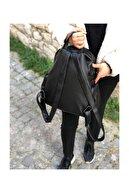 Lebina Siyah Yıkanmış Deri Kadın Sırt Çantası