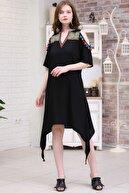 Chiccy Kadın Siyah Yaka Nakışlı Omuzları Açık Püsküllü Etek Ucu Asimetrik Dokuma Elbise  M10160000EL97267
