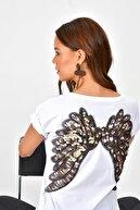 Cool & Sexy Kadın Beyaz Sırtı Kanatlı Pullu T-Shirt PKA1486
