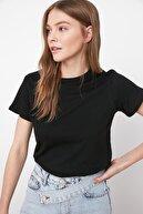 sevdalı Kadın Siyah Yuvarlak Yaka Basic Örme T-shirt